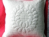 Trapunto pillow - feathered wreath 1   parallel lines quilting